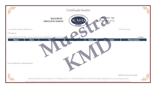 Ejemplo de Certificado KMD